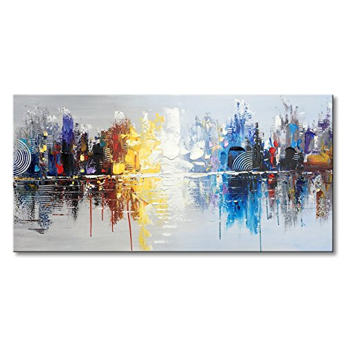 Textured Canvas (Winpeak Art Hand Painted Cityscape Modern Oil Painting on Canvas Reflection Abstract Wall Art Decor (48 x 24 inch))