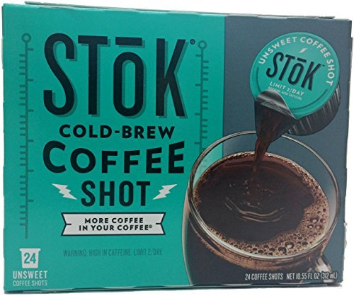 SToK Unsweet Coffee Shot, 24-Count Single Servings (Pack of 2)
