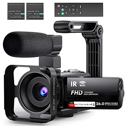 Video Camera Camcorder WiFi Vlogging Camera 3″ IPS Touch Screen Night Vision Camera for YouTube, Ultra HD 1080P 30FPS 26MP Digital Video Recorder with Microphone, 2.4G Remote, Stabilizer, HDMI Output