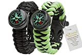 A2S Paracord Bracelet Survival Gear Kit Colorful Everest Series with Built-in New Type Compass, Fire Starter, Emergency Knife & Whistle - Pack of 2 - (Black/Neon Green Glow in The Dark)