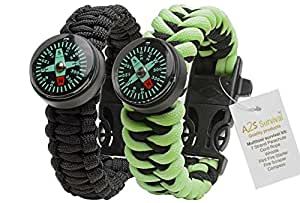 A2S Paracord Bracelet Survival Gear Kit Colorful Everest Series with built-in New Type Compass, Fire Starter, Emergency Knife & Whistle – Pack of 2 - (Black / Neon Green Glow in the Dark)