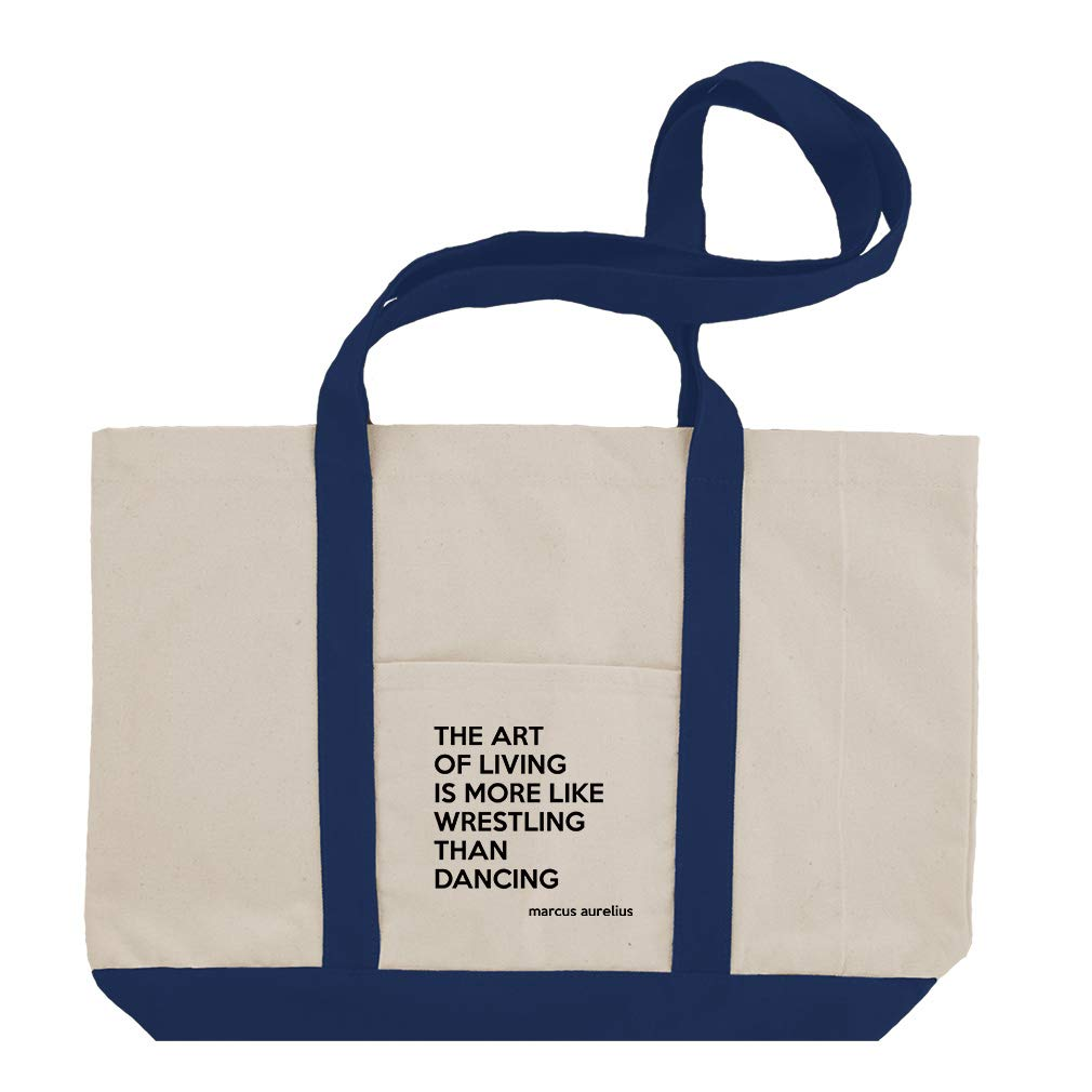 The Art Of Living Is More Like Wrestling Than Dancing (Marcus Aurelius) Cotton Canvas Boat Tote Bag Tote - Royal Blue