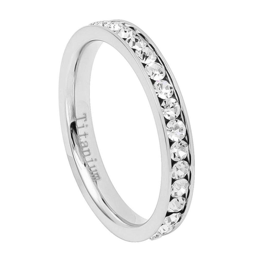 3MM Comfort Fit Titanium Wedding Band Round CZ Channel Eternity Titanium Ring (Size 4 to 8)