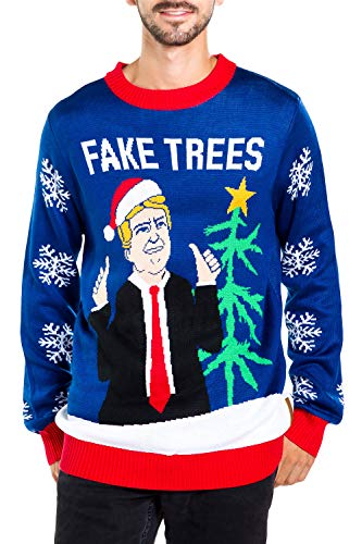 Fake News President Christmas Sweater - Blue Donald Trump Fake Trees Ugly Christmas Sweater
