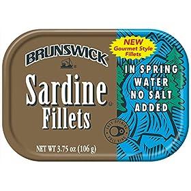 Brunswick Sardine Fillets in Spring Water, No Salt Added, 3.75oz can (Pack of 18)