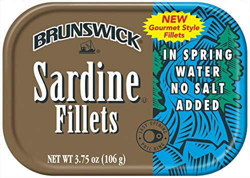 BRUNSWICK Sardine Fillets in Spring Water, No Salt Added, High Protein Food, Keto Food and Snacks, Gluten Free Food, High Protein Snacks, Canned Food, Bulk Sardines, 3.75 Ounce Can (Pack of 18)