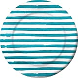 Club Pack of 48 White and Blue Disposable Paper Party Stripped Dinner Plates 11.25''