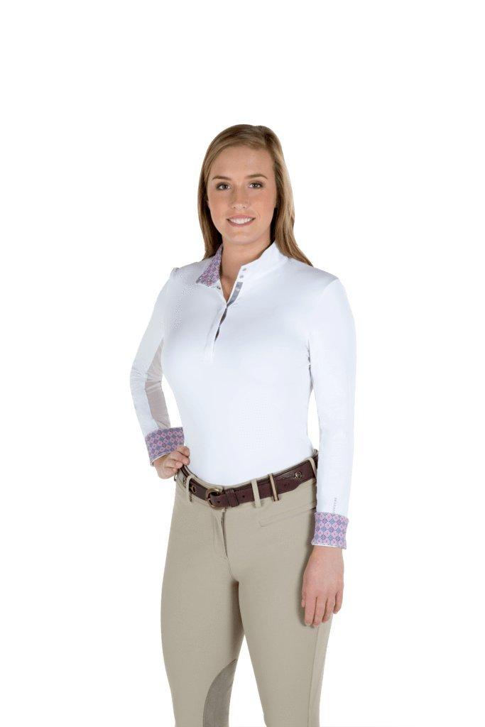 ノーブルOutfitters Victoria長袖Pull On Showシャツ – ホワイト/ Coral Geo Print B07B8WK318 X-Small コーラル コーラル X-Small