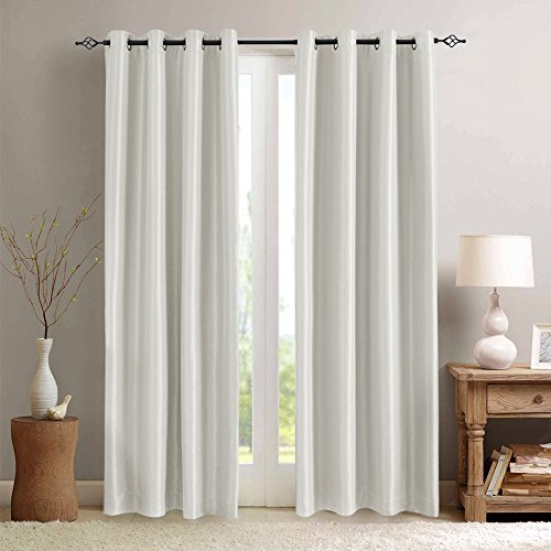 White Blackout Curtains for Living Room 84 inches Length Anti-bacteria Luxury Faux Silk Dupioni  ...