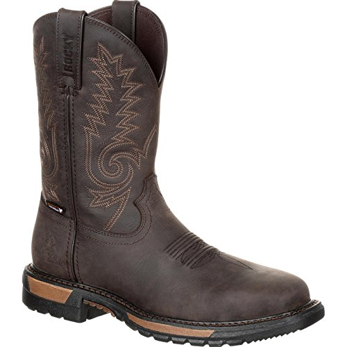 Rocky Men's Original Ride FLX Waterproof Western Work Boot Steel Toe Dark Brown 15 -