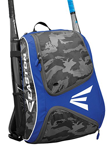 (EASTON E110BP Bat & Equipment Backpack Bag | Baseball Softball | 2019 | Royal | 2 Bat Sleeves | Smart Gear Storage | Vented Shoe Pocket | Rubberized Zipper Pulls)