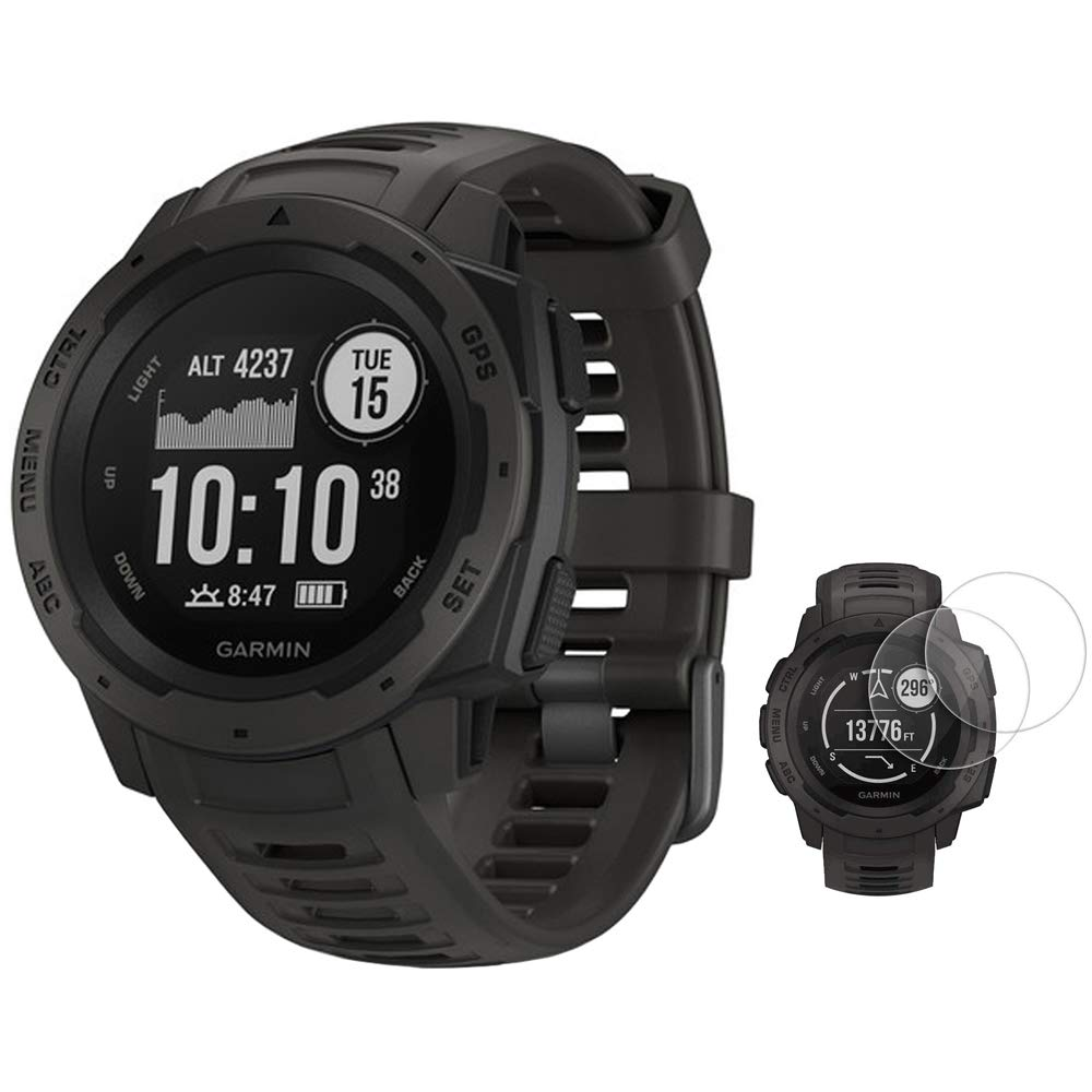 Garmin Instinct Rugged Outdoor Watch with GPS and Heart Rate Monitoring Graphite 010-02064-00 with Deco Essentials 2-Pack Screen Protector Instinct