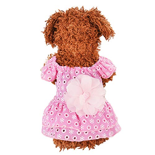 vmree Pet Dog Cat Dress Plaid Flower Lace Princess Summer Breathable Dress Clothes (S, Pink)