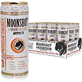 MOONSHOT Sparkling Orange Grapefruit Energy Drink • 30% Juice • 115mg Caffeine • Pure Cane Sugar • No Artificial Flavors, Sweeteners, Colors or Preservatives • Best Tasting Energy Drink