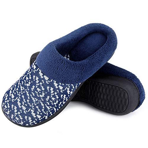 Wishcotton Women's Knit Memory Foam House Slippers,Navy,9-10 M US