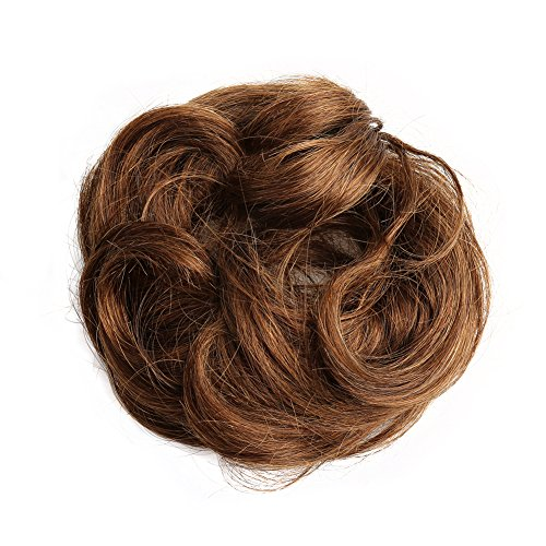 Bella Hair 100% Human Hair Scrunchie Bun Up Do Hair Pieces Wavy Curly or Messy Ponytail Extension (#4 Chocolate Brown / Dark Golden Brown) Touch Human Hairpiece