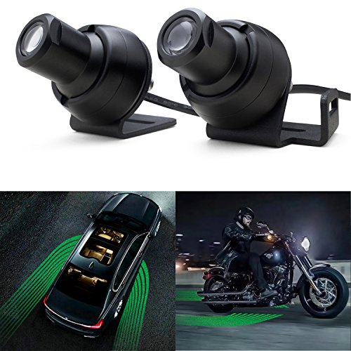 WEISIJI LED Welcome Light, Car Door Exterior Light R3 Angel Wings Light Carpet Ghost Shadow Light with Cree Chips LED Rock Light Underglow Light Ground Lamps for All Cars and Motorcycles(2Pcs Green)