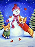 Cheap Caroline's Treasures 7048CHF Snowman with Corgi Flag Canvas, Large, Multicolor