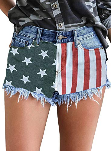 LookbookStore Women's Mid Rise Frayed Ripped Raw Hem Denim Jean Shorts American Flag Blue, Size M
