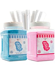 The Candery Cotton Candy Floss Sugar (2-Pack) Includes 100 Premium Cones