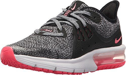 Nike AIR MAX Sequent 3 (GS) Girls Fashion-Sneakers 922885-001_6.5Y - Black/White-Racer Pink (Nike Air Girls)