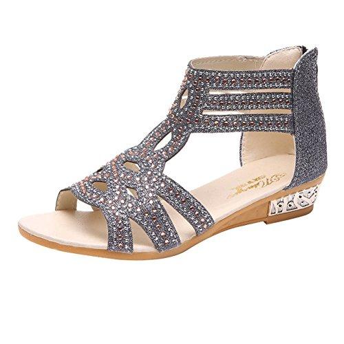 Juleya Sandals Womens Flat Elegant Strappy Sandals Pumps, High-top Rhinestone Peep Toe Sandals, Spring Summer Gladiator Breathable Casual Beach Shoes 36-40 Black