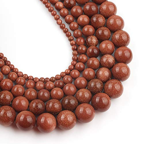 Yochus 10mm Golden Sand Round Loose Beads Natural Stone Beads for Jewelry Making