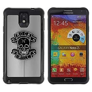 Be-Star único patrón Impacto Shock - Absorción y Anti-Arañazos Funda Carcasa Case Bumper Para SAMSUNG Galaxy Note 3 III / N9000 / N9005 ( Rock Roll Grey Black Neon Sign N Skull )
