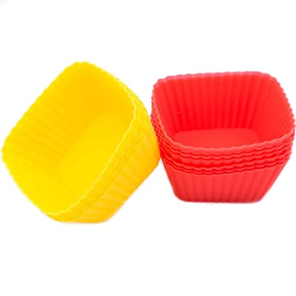NAOAO 12Pcs Silicone Mold Cupcake Baking Cups Molds Non-Stick Heat  Resistant Cake Molds Ice Cube Molds for Making Muffin Chocolate Bread -  SQUARE