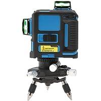 Niveau laser 360 Degrés 12 Lignes, 3D Niveau laser Vert Horizontal et Verticale à 360 degrés avec Prise Européenne 100V-240V avec Chargeur de Batterie (Bleu)