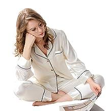 Nunubee Nightwear Women Silk Pajama Sexy Breathable Classic Satin Lounge Sleepwear Honeymoon 2pcs Set5