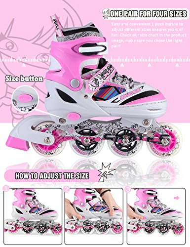 Kuxuan Kids Doodle Design Adjustable Inline Skates with Front and Rear Led Light up Wheels, Comic Style Rollerblades for Boys and Girls - Pink S by Kuxuan (Image #1)