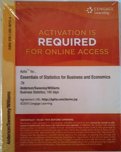 Aplia 1-Semester Printed Access Card for Anderson/Sweeney/Williams/Camm/Cochran's Essentials of Statistics for Business