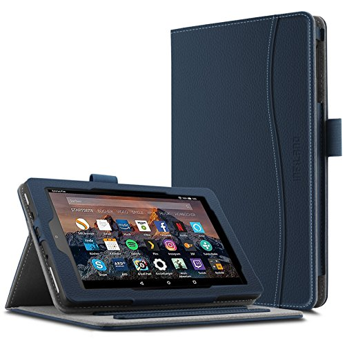 Multi Angle (Infiland All-New Fire HD 8 Case - Smart Folio Stand Cover with Document Card Pocket for New Fire HD 8 Tablet (7th Gen, 2017 Release) [Multi Viewing Angle] [Auto Wake / Sleep Feature], Navy)