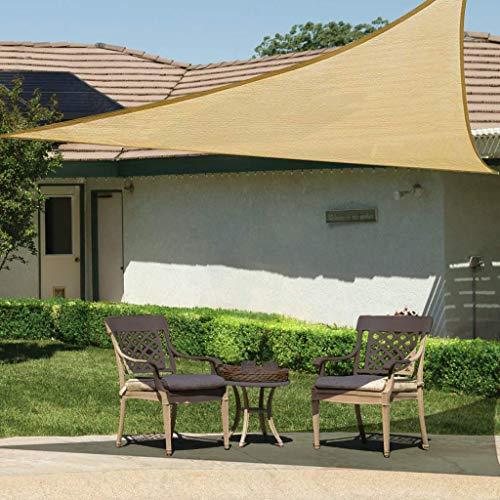 BeGrit Voile d\'ombrage Triangulaire perméable à l\'air Protection Contre Le Soleil HDPE (185g/m2) Bloque 95% Rayons UV avec Le Kit de Fixation pour Terrasse Camping Extérieur Jardin Sable (3Mx3Mx3M)