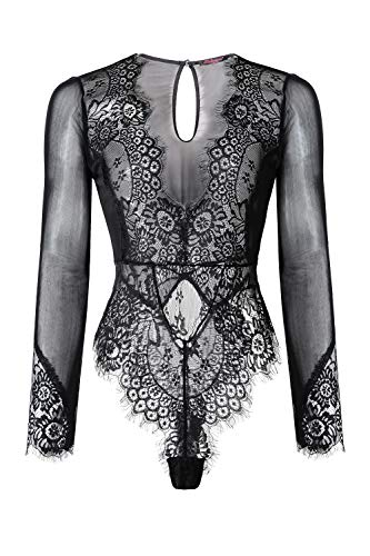 LALAVAVA Lace Mesh Bodysuit Sexy Teddy Lingerie for Women V Neck Cut Out Back (54 Black, M)