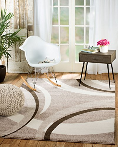 (Rio VN-Q98G-WKOT Summit 302 Taupe White Area Rug Modern Abstract Many Sizes Available  (3'.6