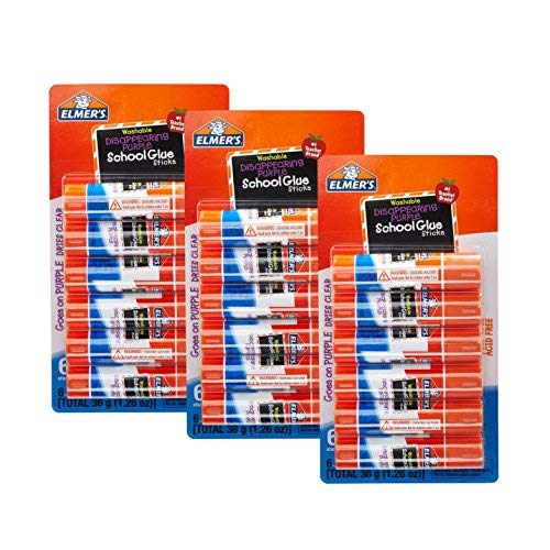- Elmer's Washable Disappearing Purple Glue Sticks, Acid Free, 6 Count (3 Pack)