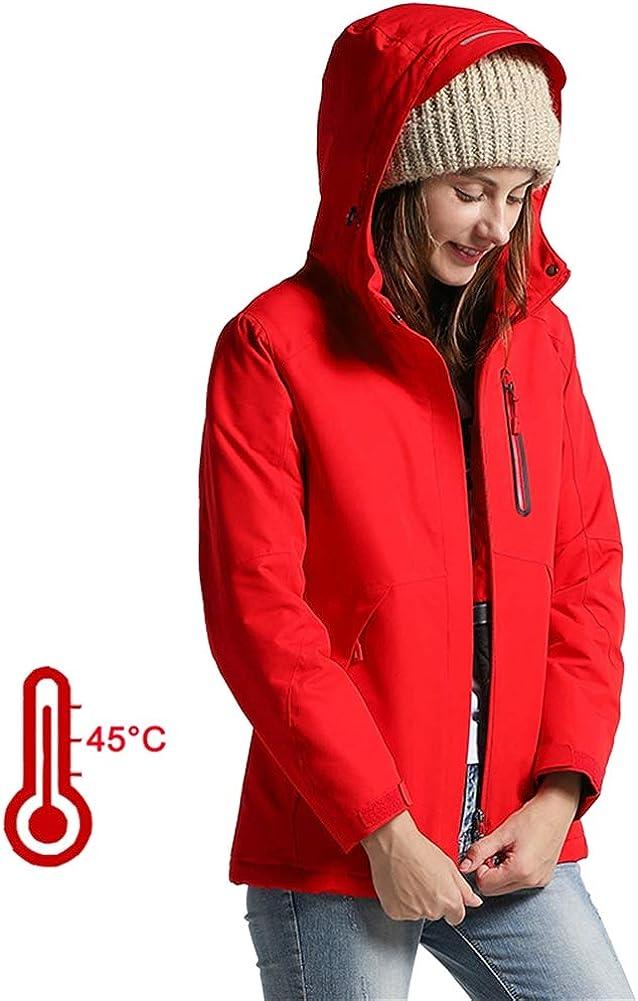 SK Studio Donna Giacca Riscaldante Elettrica,Abbigliamento Riscaldato USB,Inverno Leggero Giubbotto Piumino Cappotto Rosso