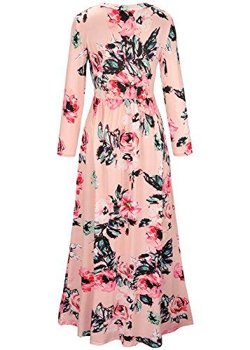 Las mujeres de impresión floral de manga larga Boho vestido de damas de noche Party Maxi vestido largo Rosado-1