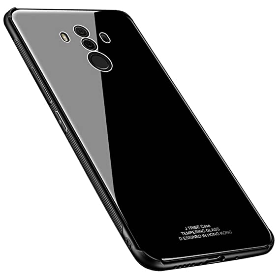 buy online c995e 57c94 Kepuch Quartz Huawei Mate 10 Pro Case - TPU + Tempered Glass Back Cover for  Huawei Mate 10 Pro - Black