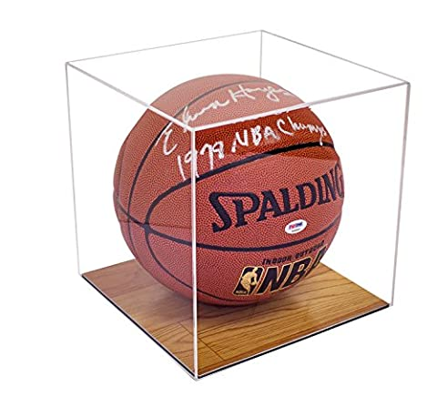 Deluxe Clear Acrylic Basketball Display Case with Simulated Wood Floor (A008-WB) - Large Display Case