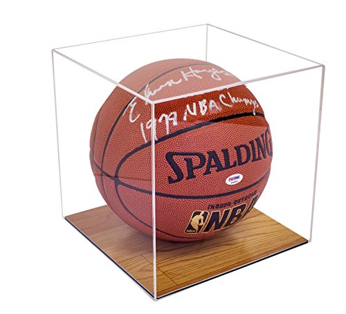 Deluxe Clear Acrylic Basketball Display Case with Simulated Wood Floor (A008-WB) (Basketball Signed)