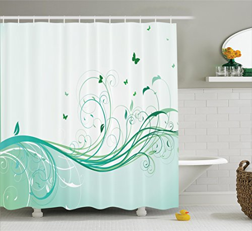 Turquoise Shower Curtain Set By Ambesonne, Illustration Of Floral Victorian Style Curvy Lines Wave Water Butterfly Pattern Design, Bathroom Decor Set With Hooks, 69W X 70L Inches (Bathroom Sets Teen)