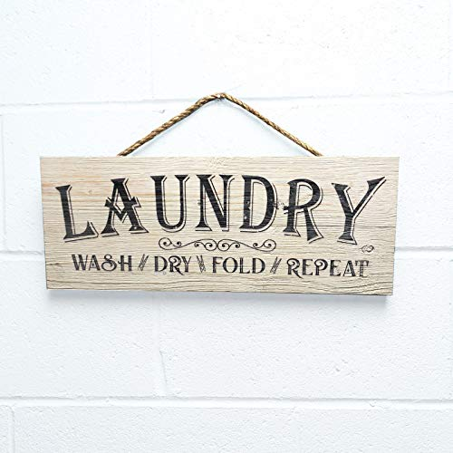 """Artblox Rustic Laundry Room Wall Decor Sign Wash Dry Fold Repeat Quotes Real Thick Barn Wood Vintage Farmhouse Decorations Wood Art Prints Plaque 7"""" x18"""
