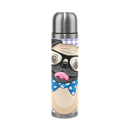 coosun Hipster Pug perro Thermos botella de agua de acero ...