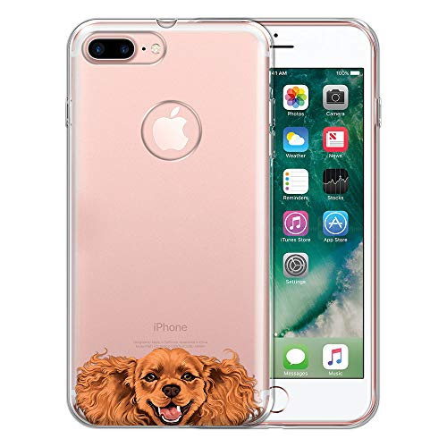 Cocker Pomeranian Spaniel - FINCIBO Case Compatible with Apple iPhone 7 Plus 2016 / iPhone 8 Plus 2017, Clear Transparent TPU Protector Case Cover Soft Gel for iPhone 7 Plus / 8 Plus (NOT FIT iPhone 7/8) - Cocker Spaniel