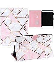 ZOOMALL Folio-fodral för iPad Air 3 10.5 2019/iPad Pro 10.5 2017, premium veganskt läderstativ med pennhållare automatisk uppvakning/sömn, rutnät marmor rosa/vit