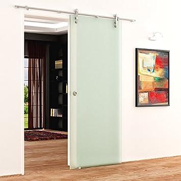 Puerta corredera de cristal de acero inoxidable con-Barra de acero inoxidable y ruedas en diseño abierto | Dimensiones: 775 x 2050 mm, 8 mm de grosor: Amazon.es: Bricolaje y herramientas
