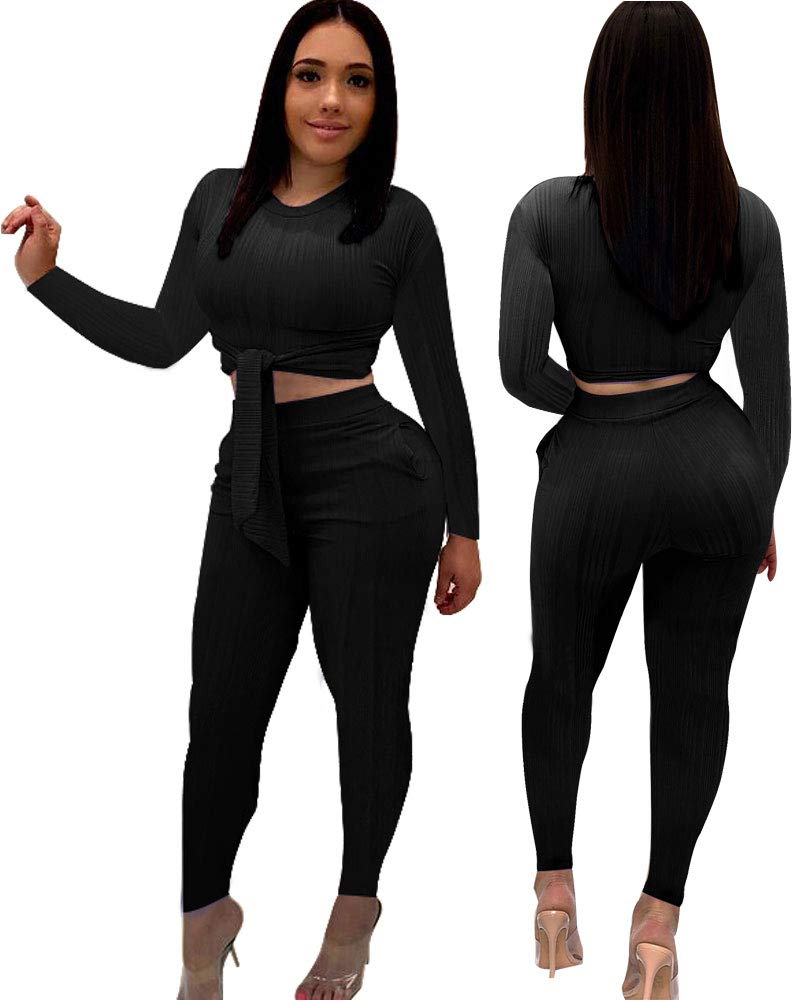 Ekaliy Women Sexy 2 Piece Outfits- Casual Jumpsuits Long Pant Rompers Shirts with Sleeve Pockets Black XL